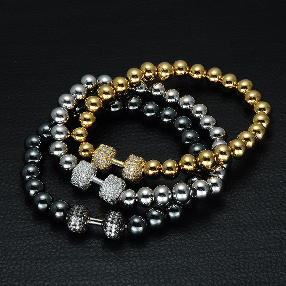 Lab Diamond Stainless Steel Dumbbell Beaded Bling Bracelet