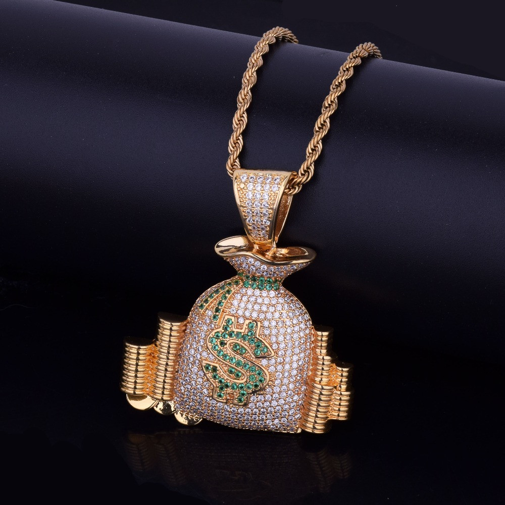 14k Gold Silver Money Bag Stack Iced Out Cash Coins Simulated Diamond Hip Hop Chain Pendant
