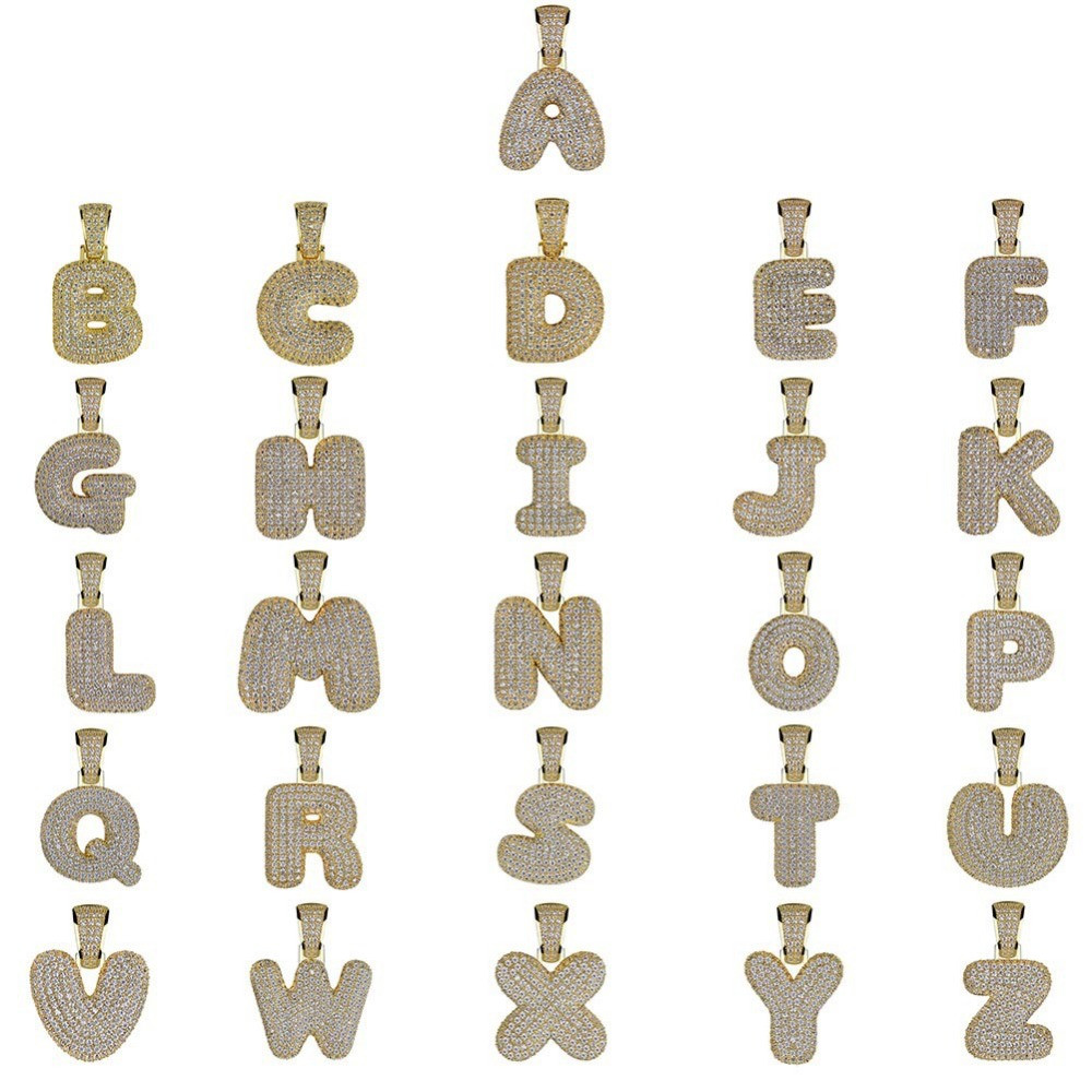 14k Gold Silver Lab Diamond Iced Out Custom Bubble Letters Initials Hip Hop Chain Pendant