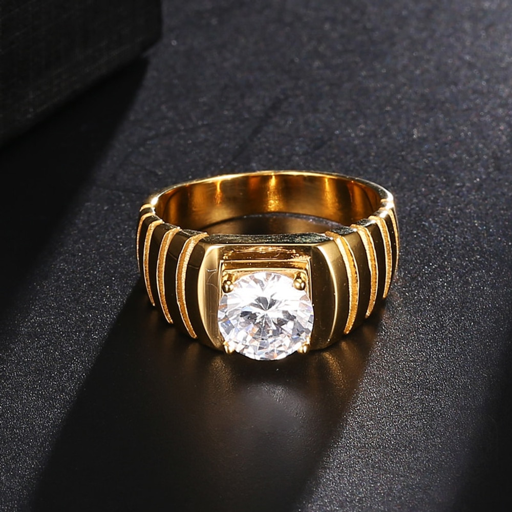 Lab Diamond 14k Gold Titanium Stainless Steel Ring