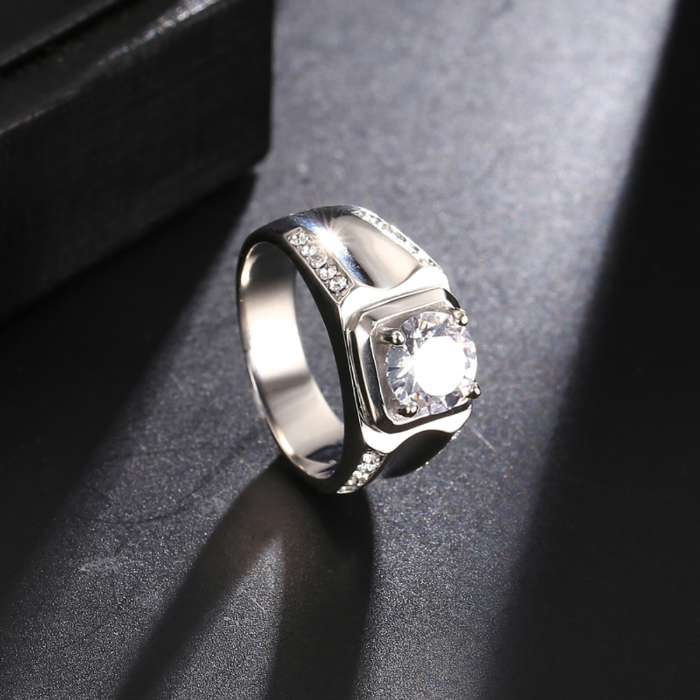 Men's .925 Silver 14k Gold Bling Iced Out Lab Diamond Titanium Stainless Steel Baller Ring
