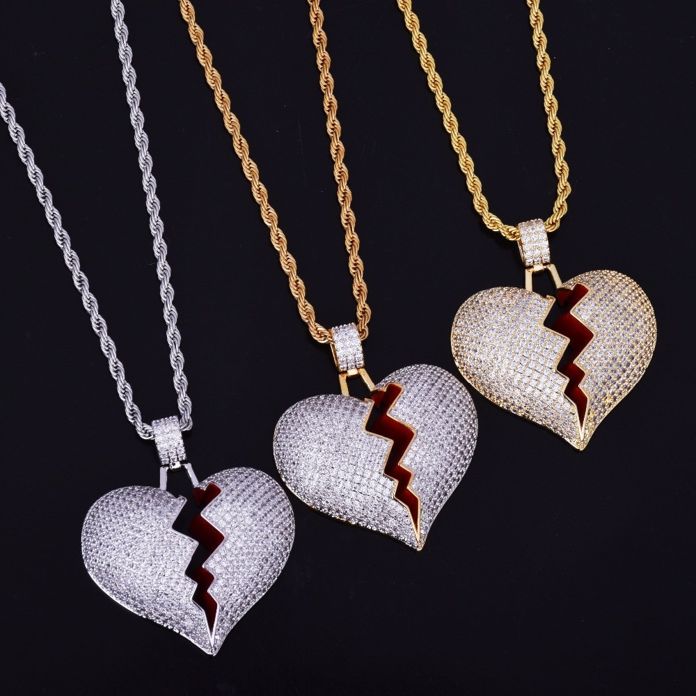 Lab Diamond Bling 18k Gold Silver Heart Breaker Chain
