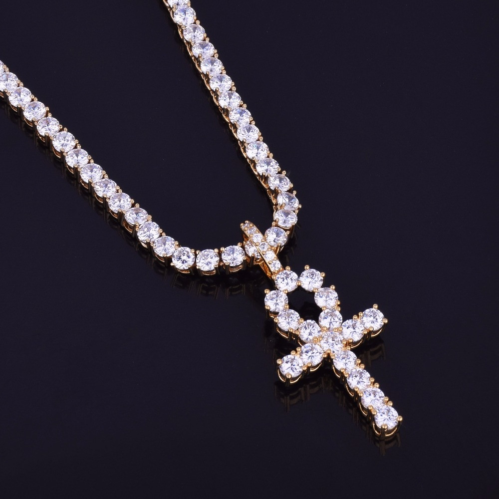 Iced Out Lab Diamond Ankh Cross With 4mm Tennis Chain Necklace