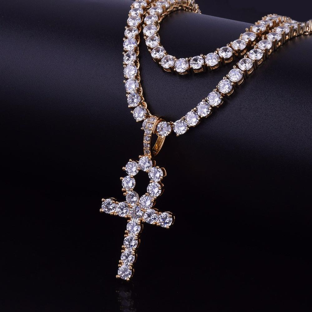 Lab Diamond Ankh Cross With 4mm Tennis Chain