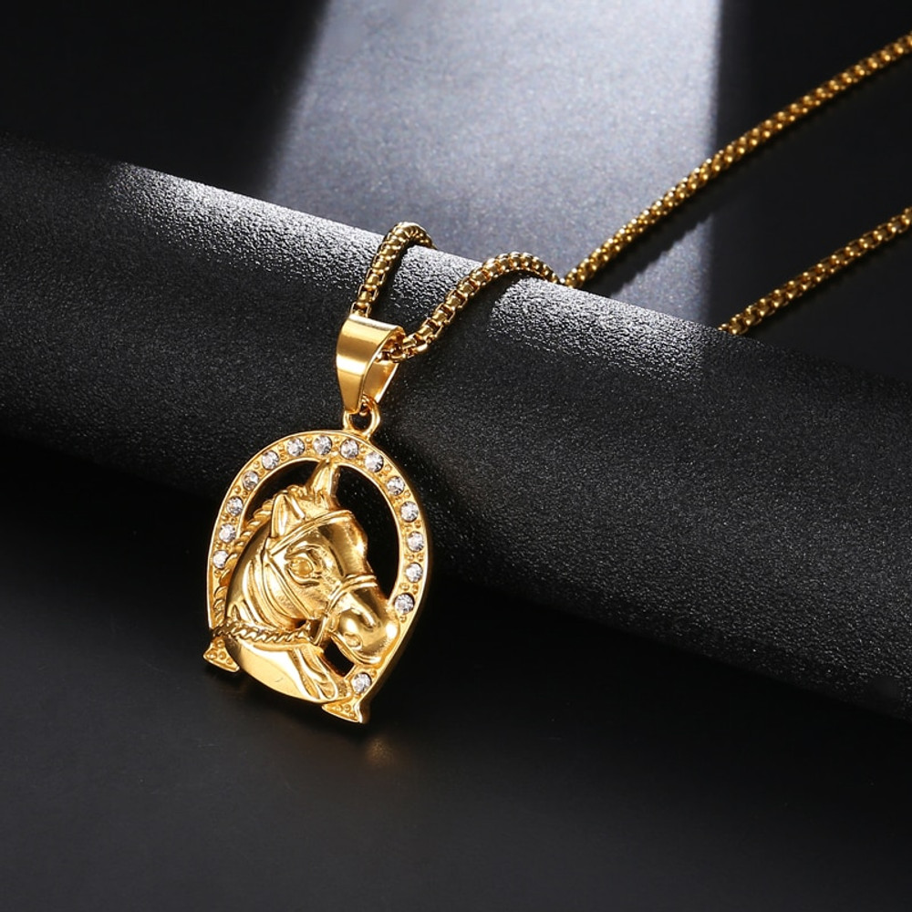 14k Gold Stainless Steel Lab Diamond Bling Iced Out Lucky Horse Shoe Pendant Necklace