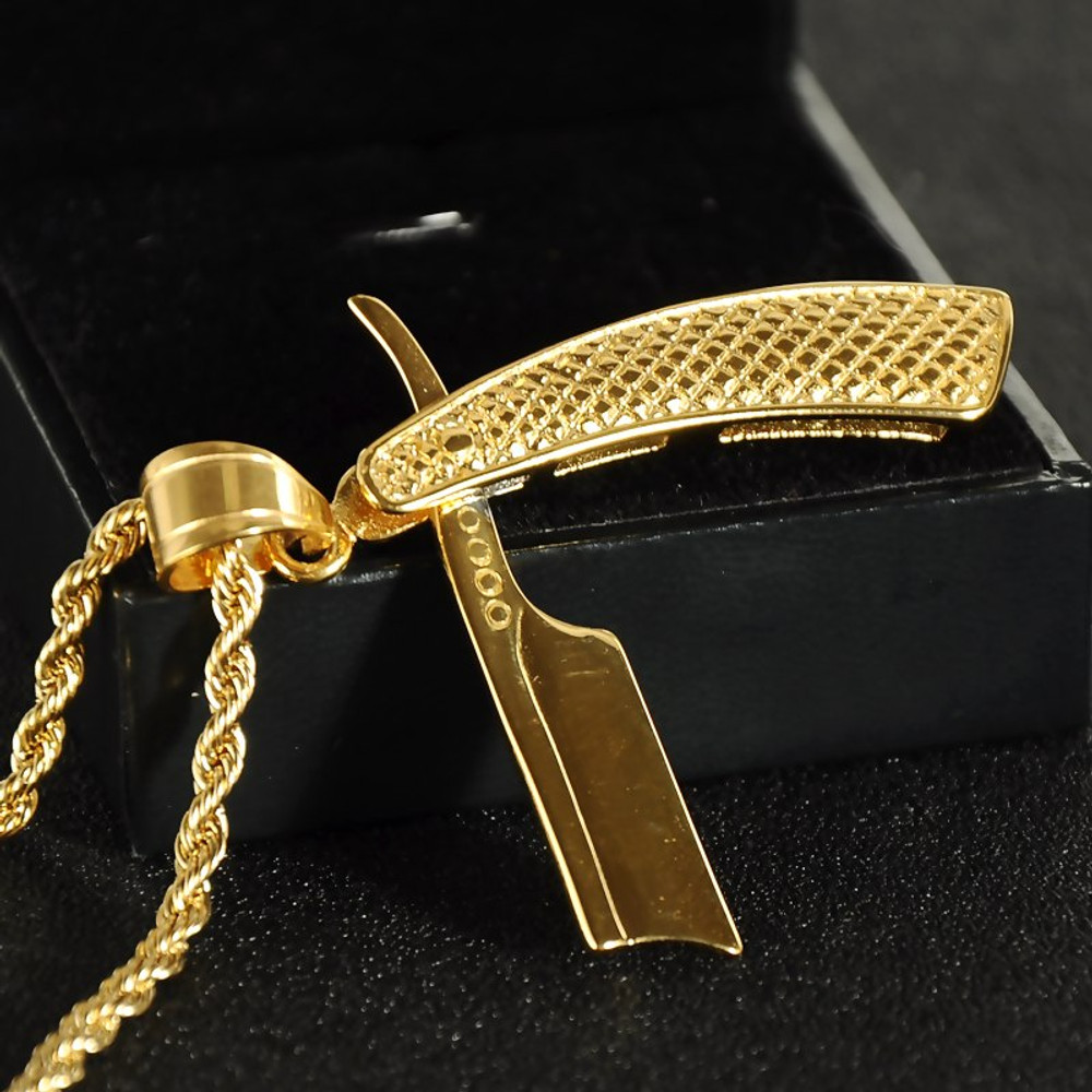 Hip Hop Gold Silver Stainless Steel Old School Shaver Lining Blade Barber Shop Chain Pendant