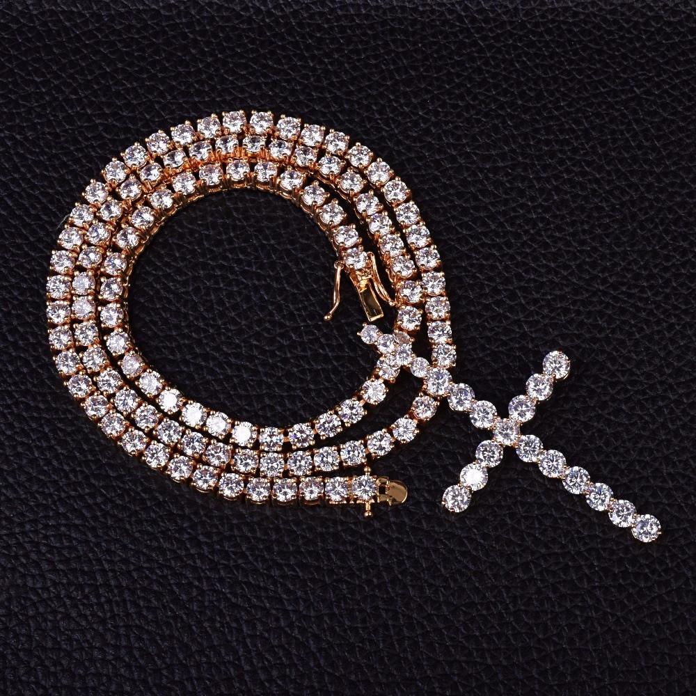AAA Lab Diamond Classic Cross Tennis Chain Necklace