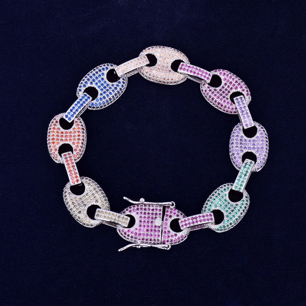 Micro Pave Lab Diamond 12MM Mixed Color Marine G Link Bling Bracelet