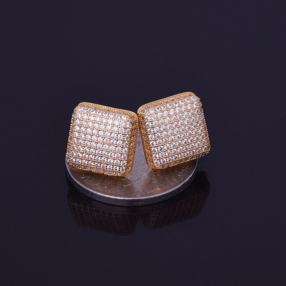 Mens 12mm Lab Diamond Iced Out Bling Square Stud Hip Hop Earrings