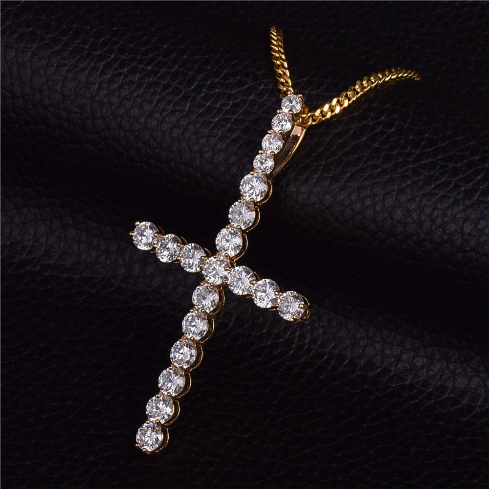 22k Gold All Ice AAA Micro Pave Handset Stone Cross Pendant