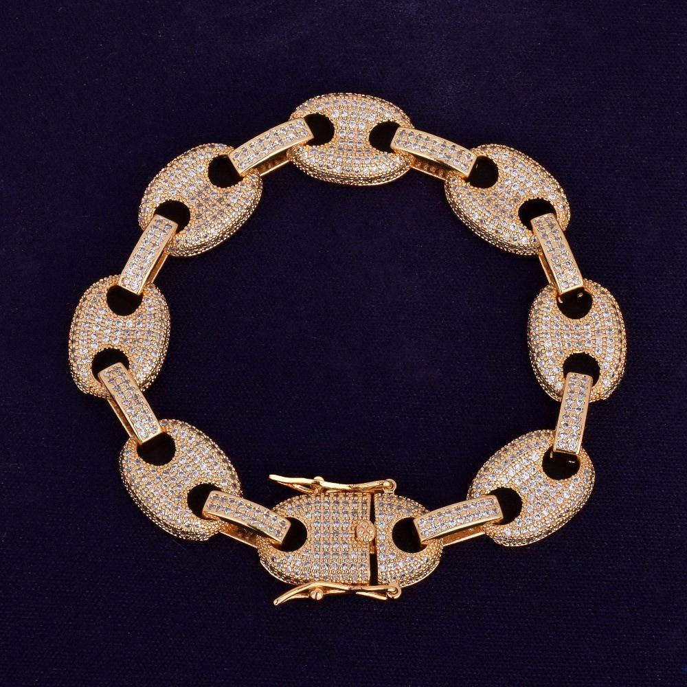 Mens Iced Out 12MM 14k Gold Silver G Link Hip Hop Bracelet