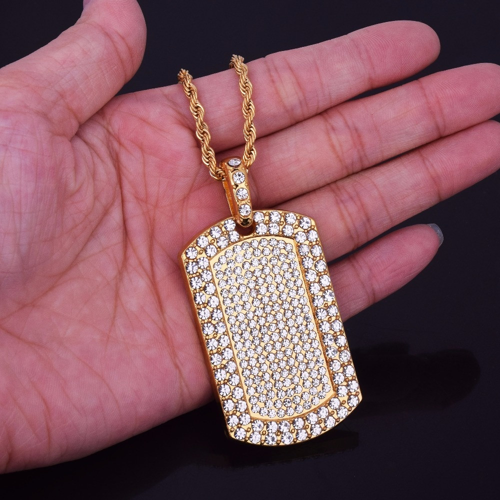 Mens Full Iced Out Lab Diamond Dog Tag 14k Gold Bling Chain Pendant