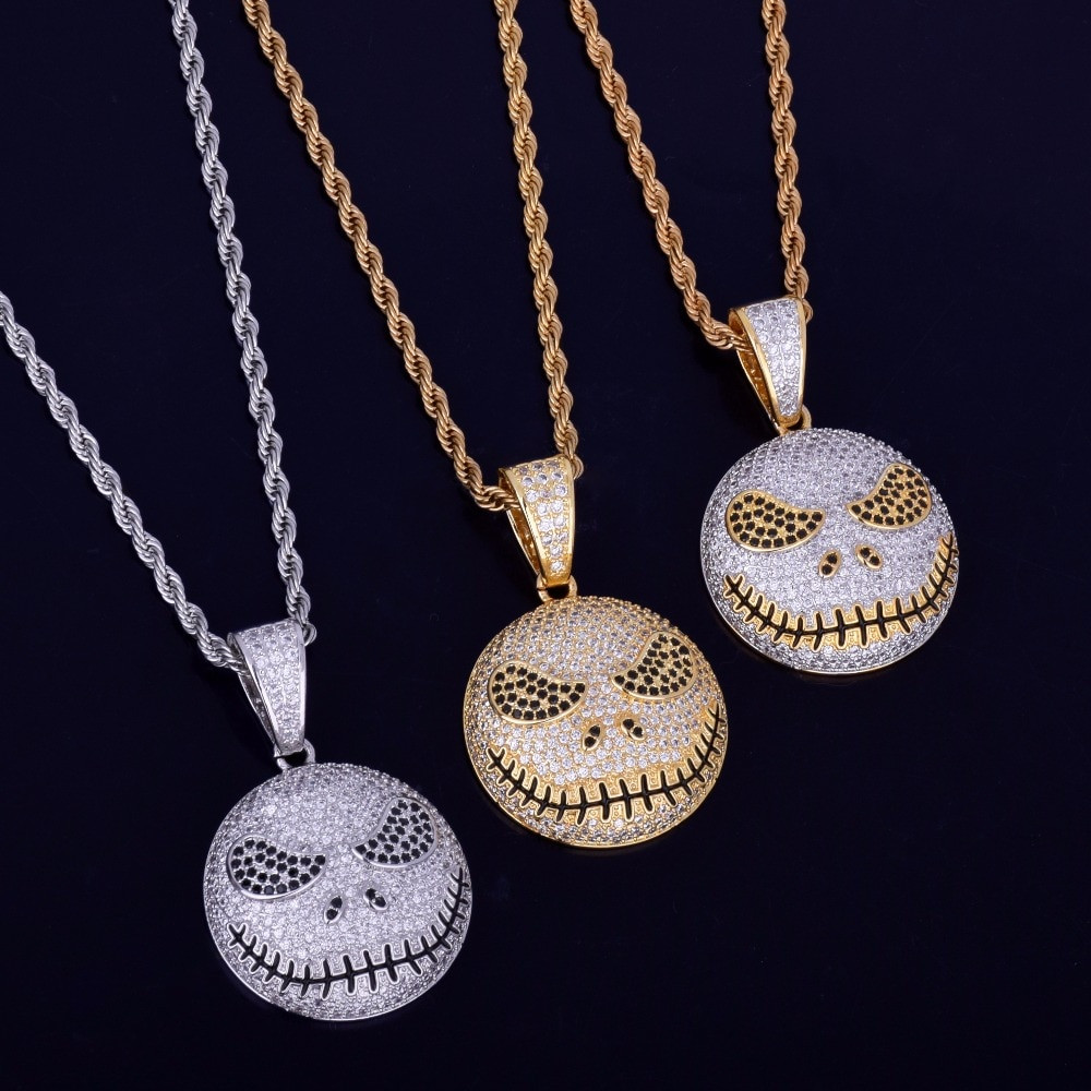 Iced Out Nightmare Emoji Face 14k Gold Silver Hip Hop Chain Pendant