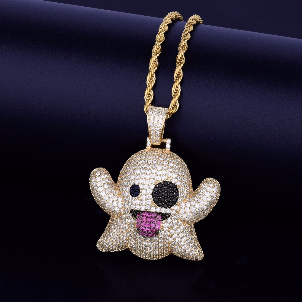 Iced Out SnapChat Emoji Ghost Lab Diamond Hip Hop Necklace Chain Pendant