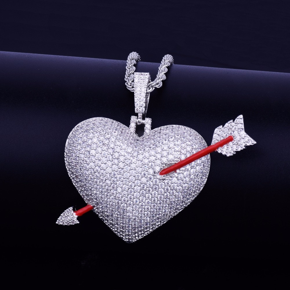 Arrow Through Heart Lab Diamond Bling Pendant Chain Necklace