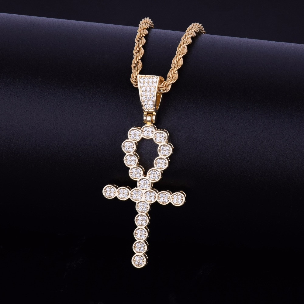 Key Of Life Round Ankh Cross 14k Rose Gold Silver Deep Set Lab Diamond Pendant Chain Necklace