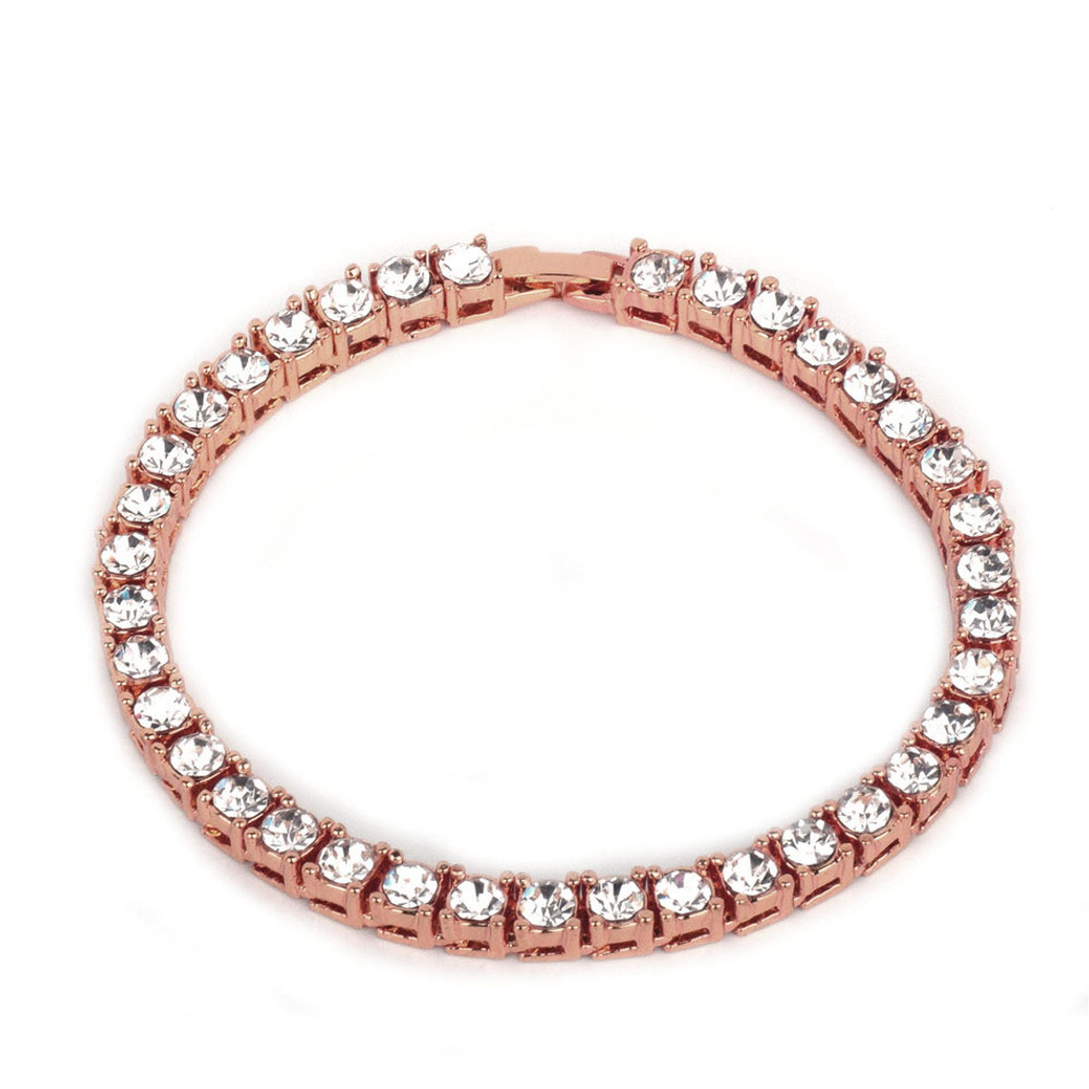 Men's Hip Hop 14k Rose Gold Silver Iced Out Simulate Diamond 1 Row Tennis Chain Bracelet