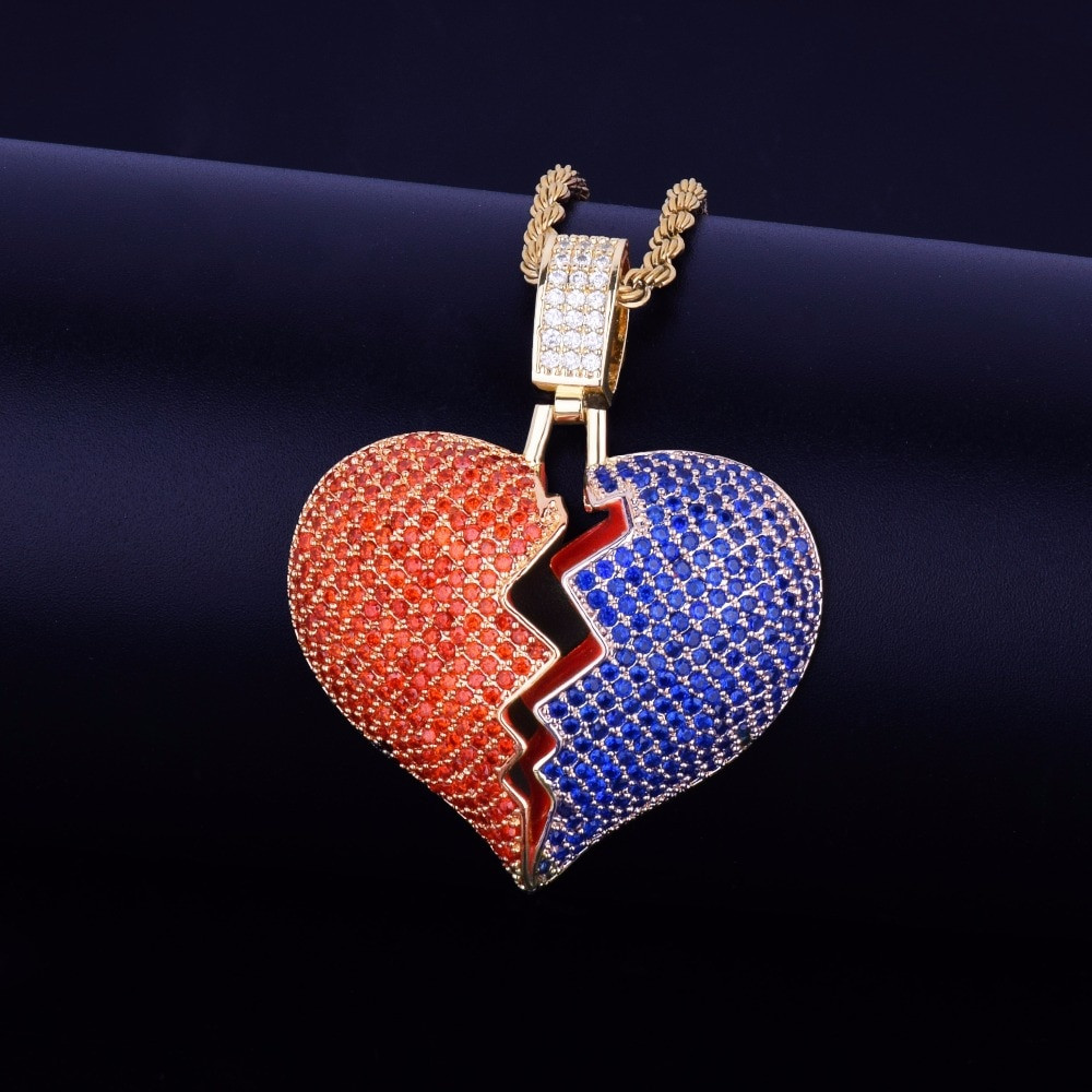 Mens Lab Diamond Red Blue Broken Heart Breaker Hip Hop Pendant Chain Necklace