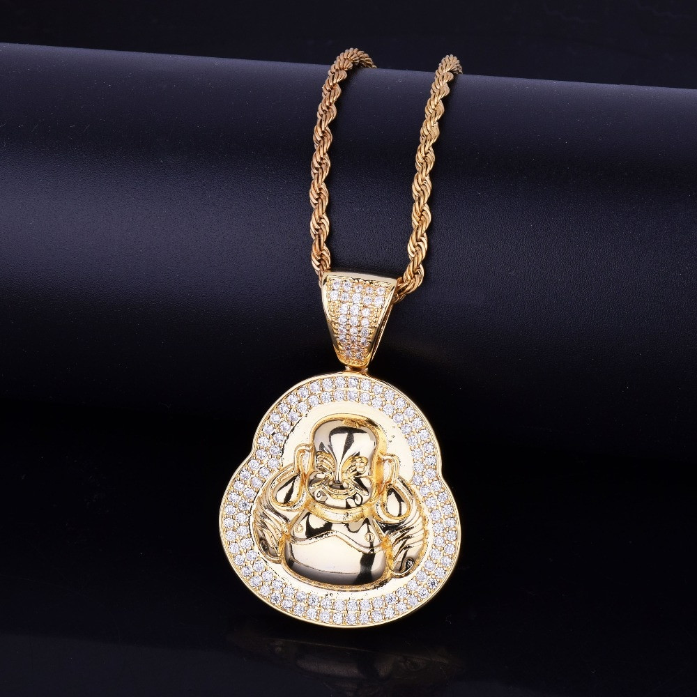 Mens Iced Out Designer 14k Gold Silver Spiritual Buddha Pendant Chain Necklace