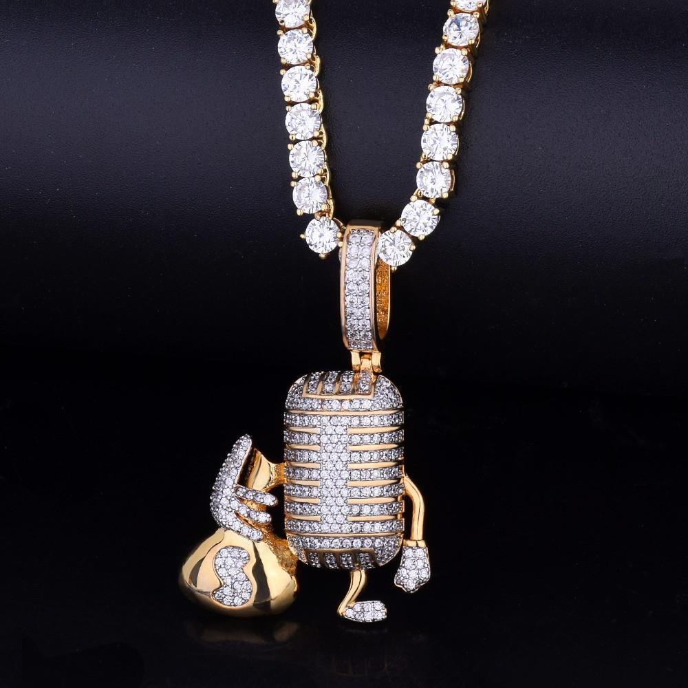 18k Gold Microphone Money Bag Pendant