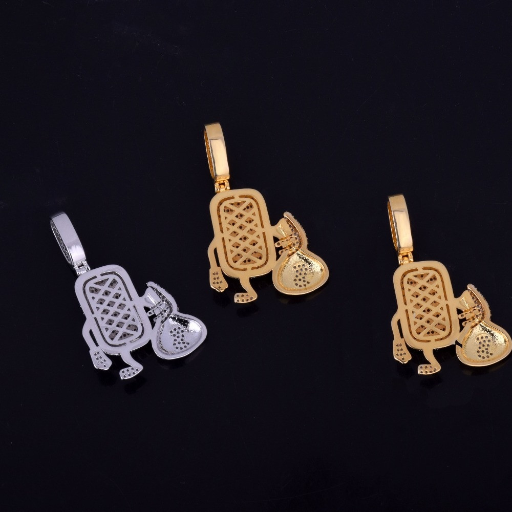 18k Gold .925 Silver Microphone Money Bag Hip Hop Pendant Chain Necklace