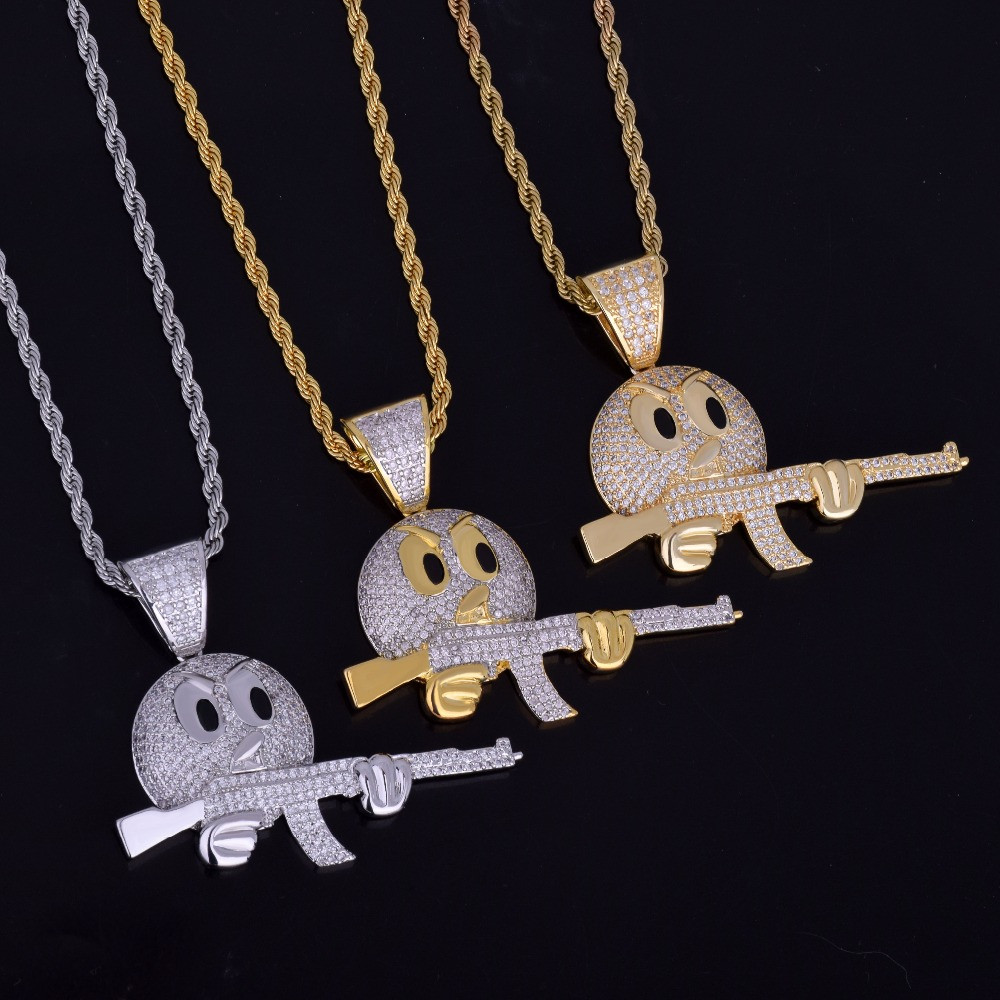 Flooded 1ce 18k Gold .925 Silver Ak47 Emoji Face AAA True Micro Pave Gun Pendant Chain Necklace