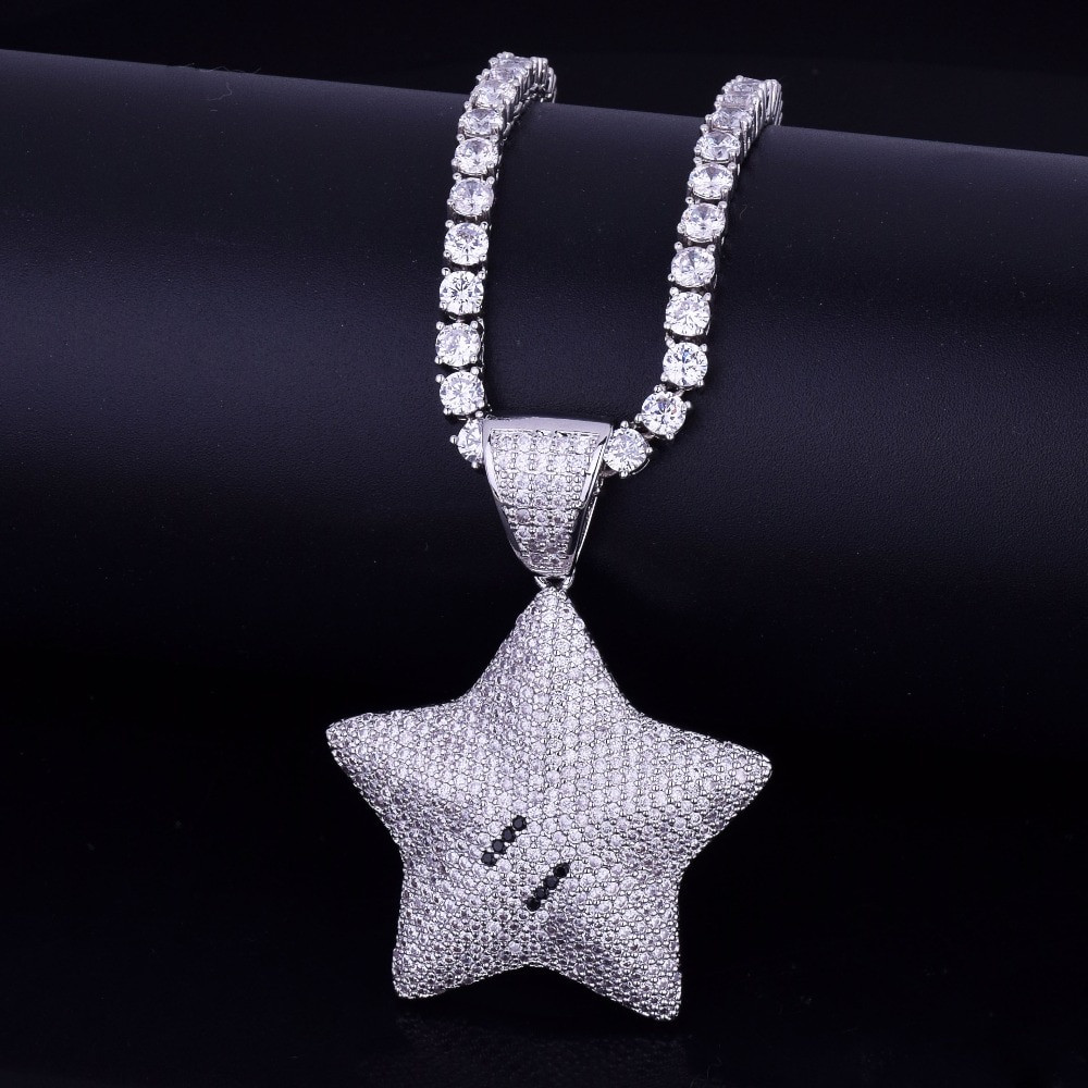 .925 Silver Mario Star Flooded Ice Pendant