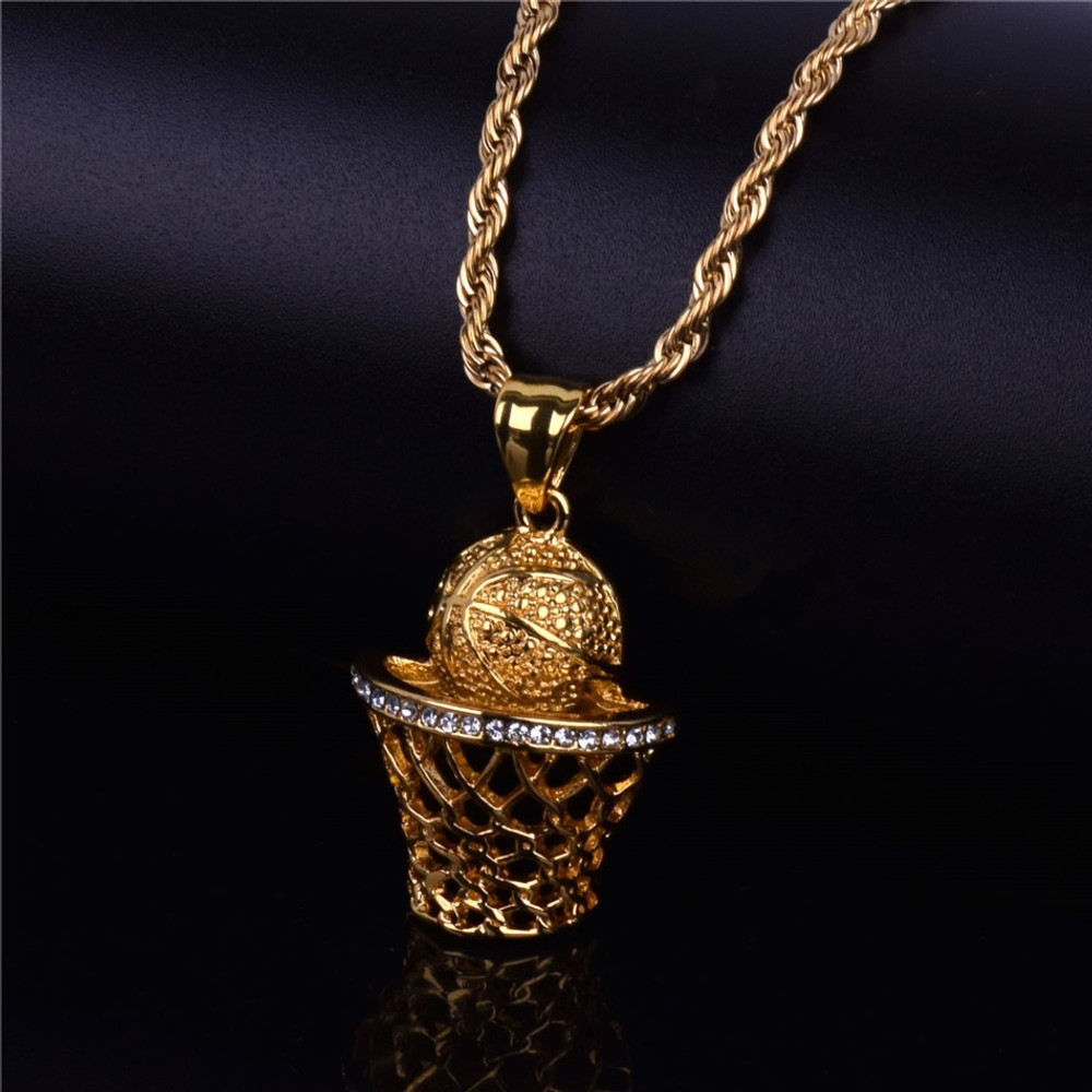 Iced Out Silver 14k Gold Hip Hop BasketBall Nets Hoop Bling Pendant Chain Necklace