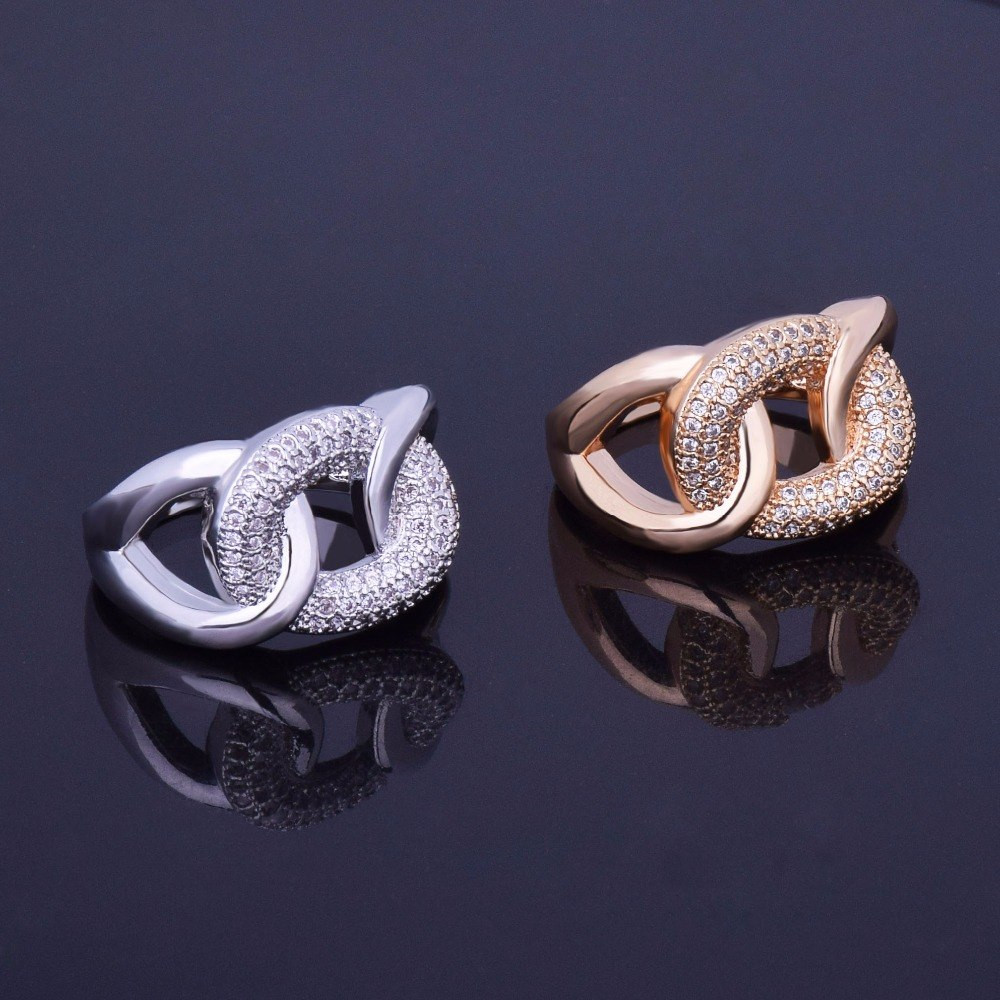 14k Gold Silver Beautiful Lab Diamond Cuban Cut Infinity Ring