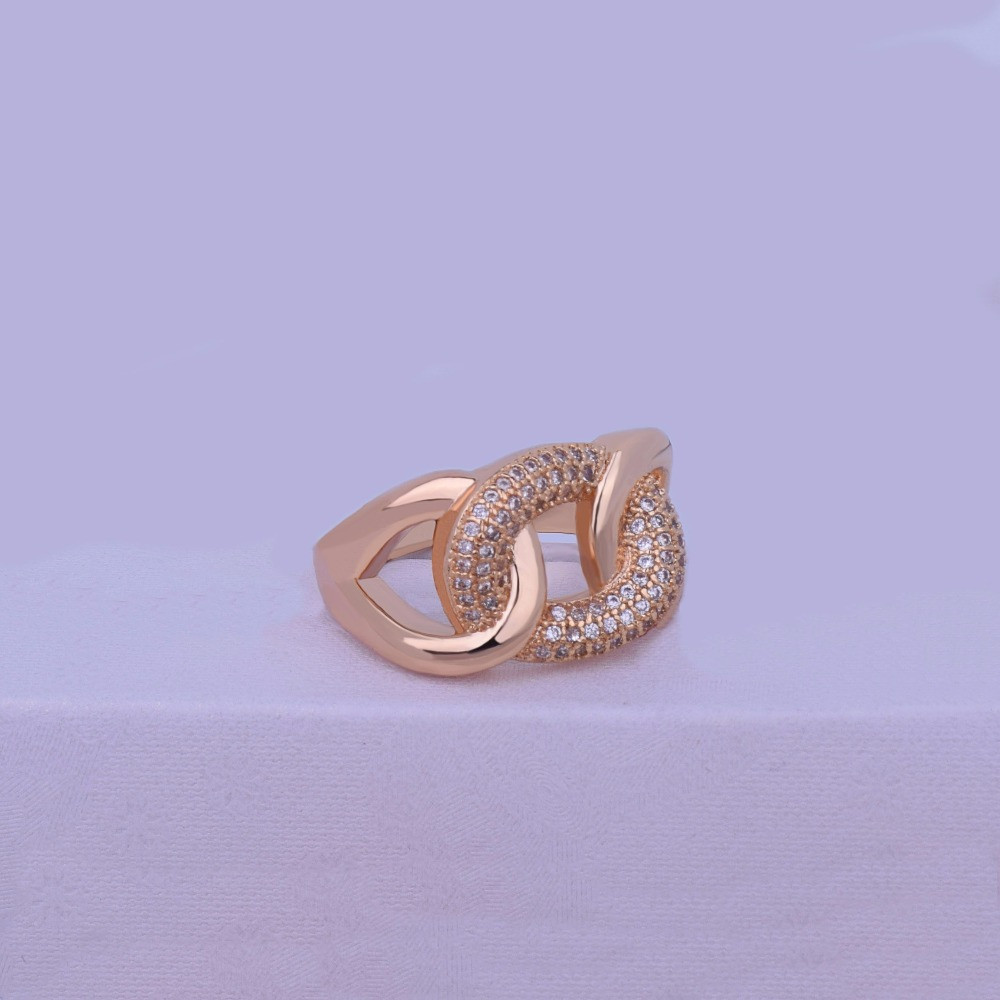 Ladies 14k Gold Silver Beautiful Lab Diamond Cuban Cut Infinity Ring