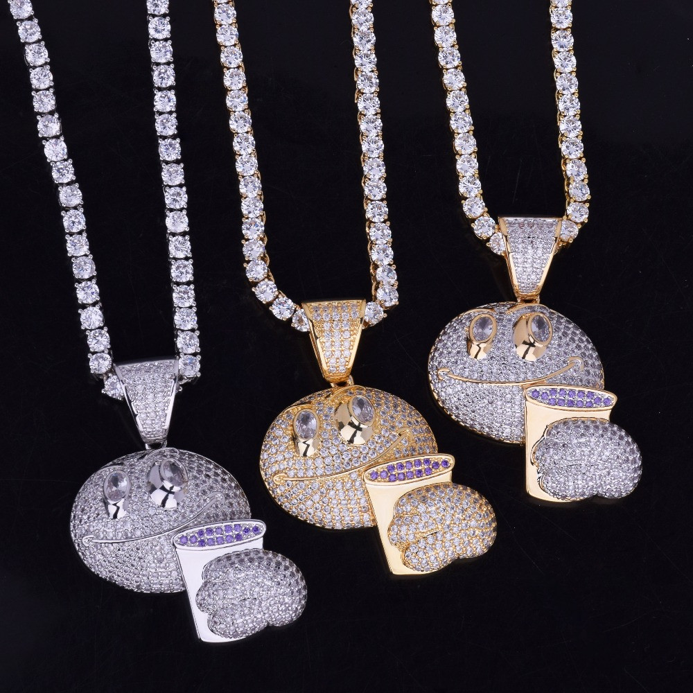 Emoji Holding Purple Cup Iced Out Pendant Chain Necklace