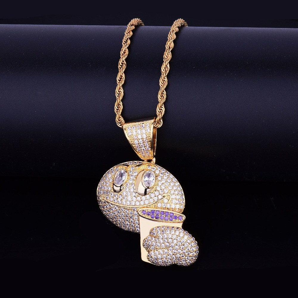 18k Gold .925 Silver Drunk Lean Emoji Holding Purple Cup AAA Micro Pave Pendant Chain Necklace