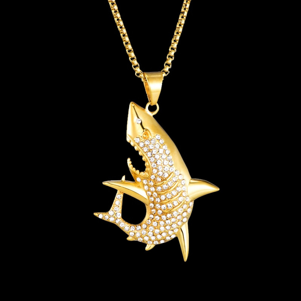 Mens Micro Pave Lab Diamond Iced Out Bling 14k Gold Stainless Steel Shark Pendant Chain Necklace