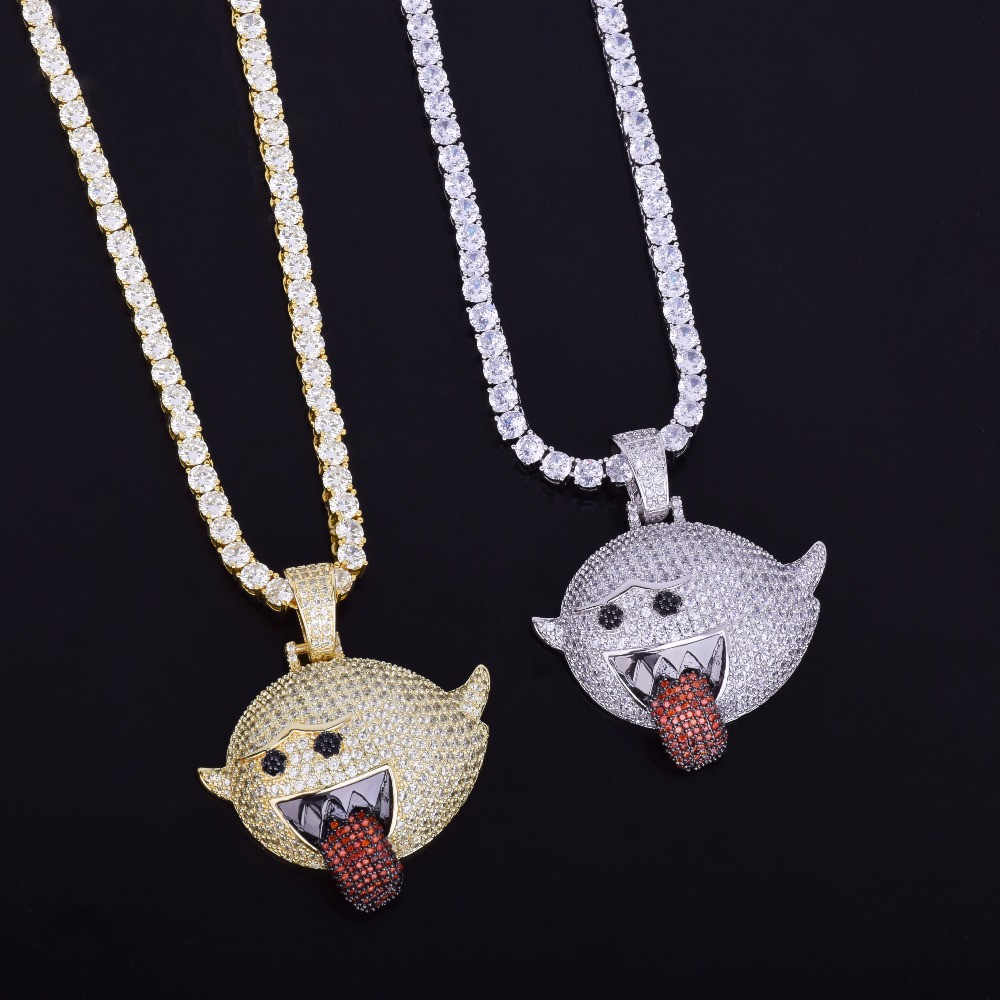 Mario Ghost Hip Hop Micro Pave Chain Pendant