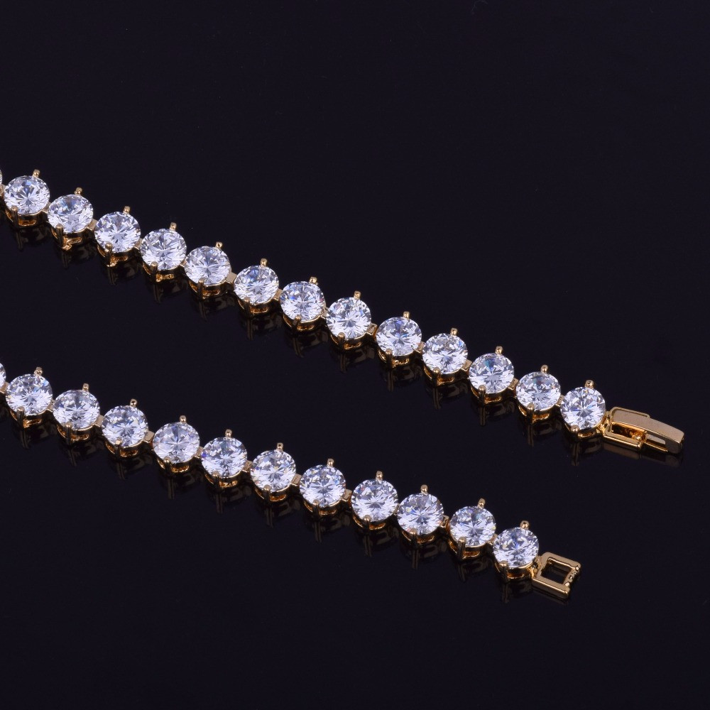 6MM Iced Out Lab Diamond Tennis Chain Bracelet 14k Gold Silver Bracelet