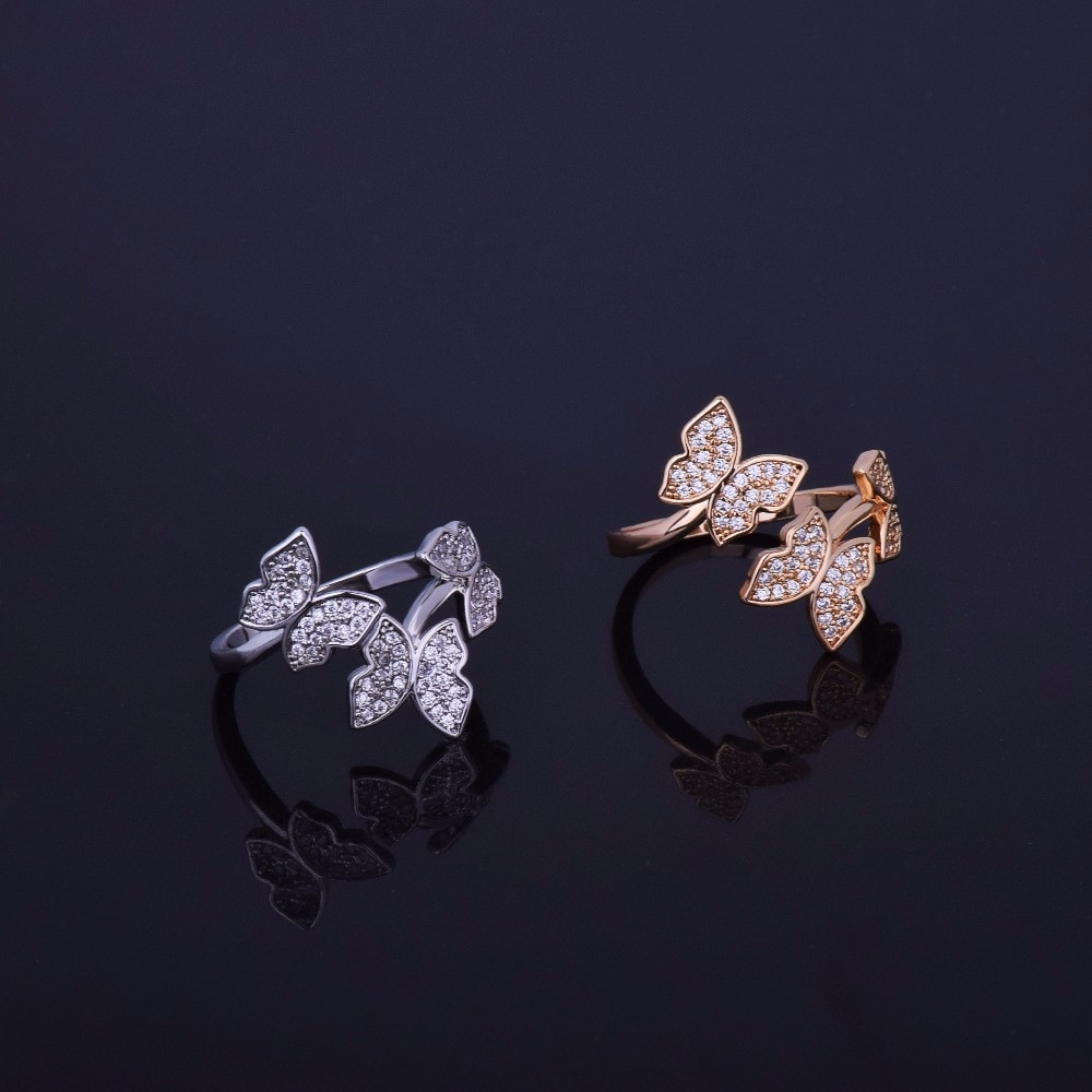 Gold Silver Butterfly Ring
