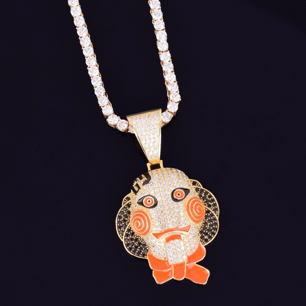 Hip Hop Micro Paved Full AAA Flooded Ice Stone 69 Saw Doll Chain Head Mask Pendant