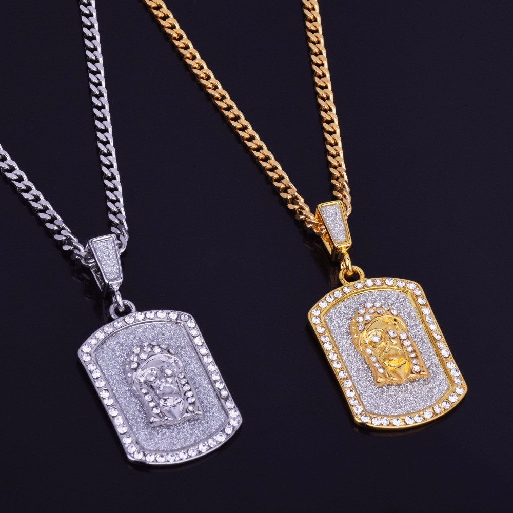 Sand Blast Iced Out Lab Diamond Jesus Face Dog Tag Chain Necklace Pendant