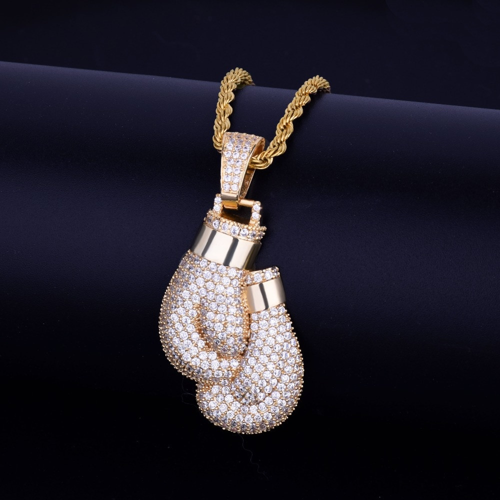 Lab Diamond Iced Out Bling Boxing Golden Gloves Hip Hop Pendant Chain Necklace