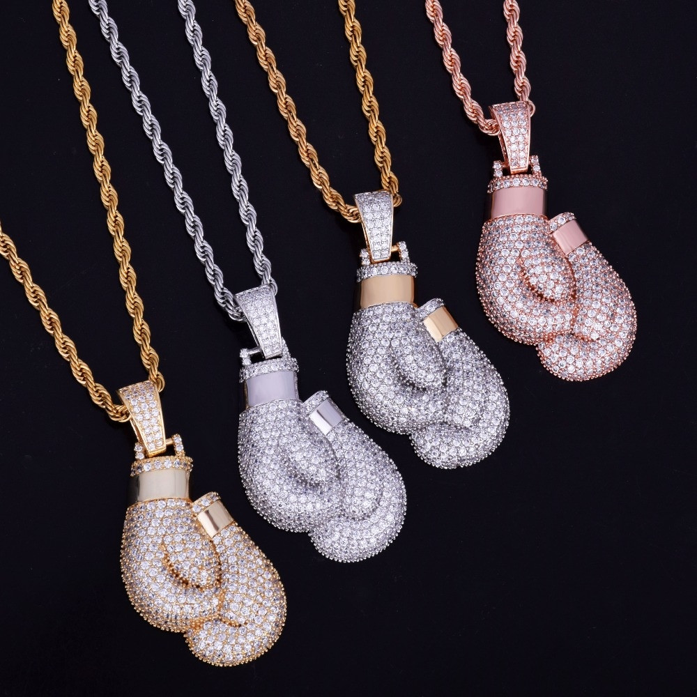 Flooded Ice 18k Gold .925 Silver Rose Gold Bling Boxing Golden Gloves Hip Hop Pendant Chain Necklace