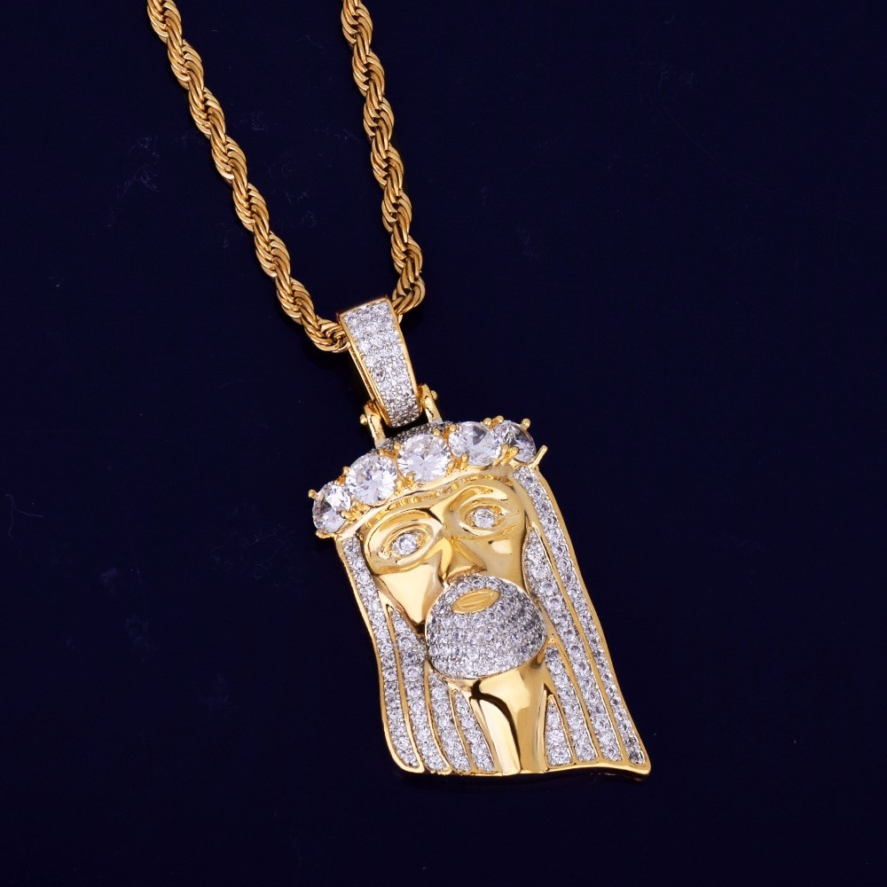 18k Gold .925 Silver Flooded Ice Gold Of Salvation Jesus Head Piece Pendant Chain Necklace