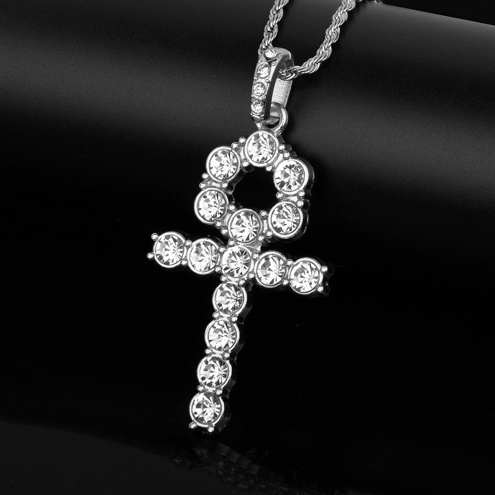 Large Studded Stone Men's Key Of Life Ankh Cross African Egyptian Pendant Chain Necklace