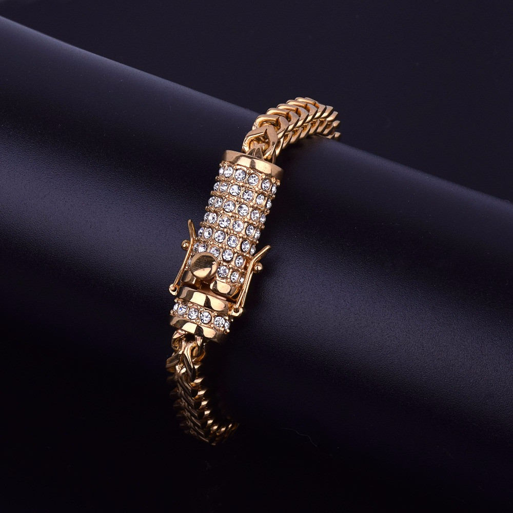 14k Gold Box Clasp Lab Diamond Fox Franco Link Stainless Steel Bracelet
