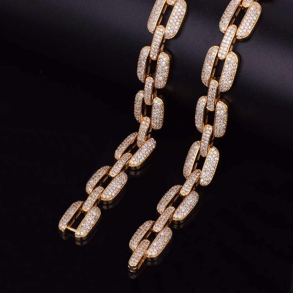Iced Out 14k Gold Silver AAA Lab Diamond Micro Pave O Link Chain Bracelet