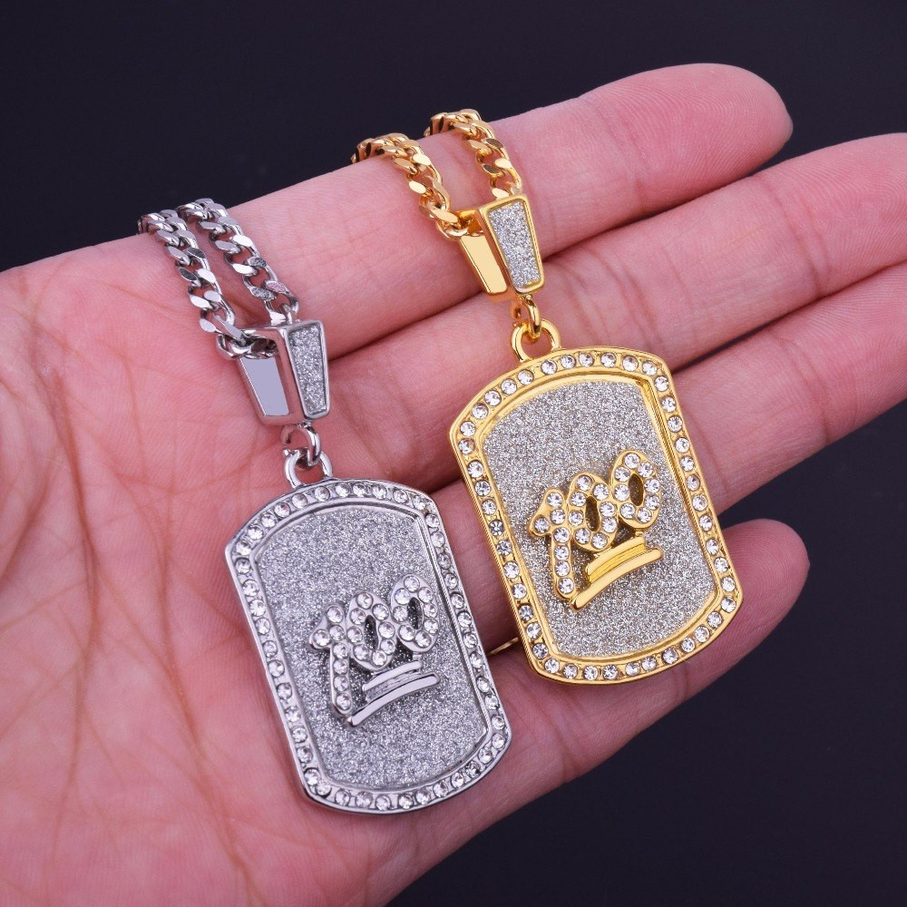 Emoji 100 Bling Bling Sand Blast Dog Tag Hip Hop Pendant Chain Necklace
