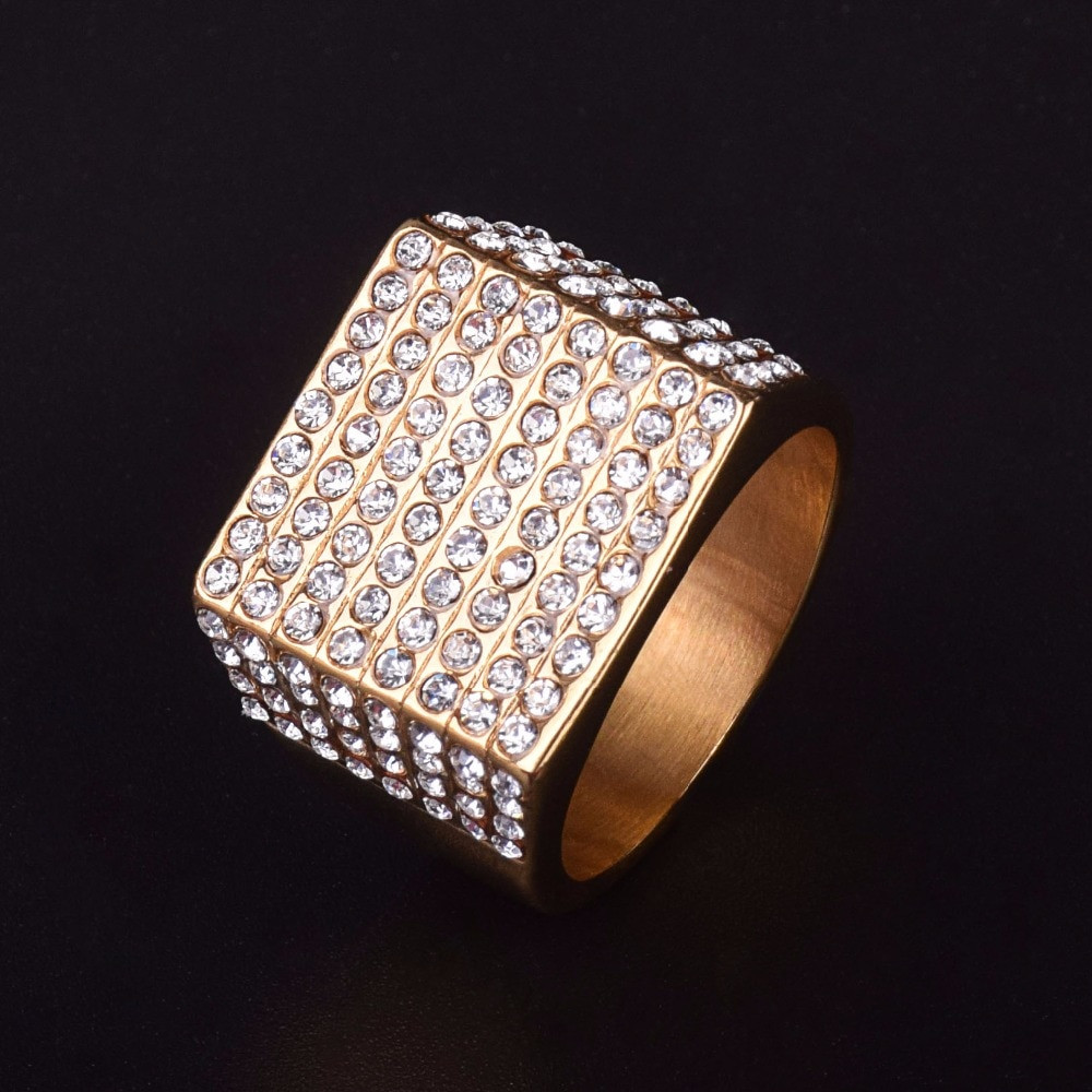Men's Stainless Steel 14k Gold Squared Hip Hop Jewelry ...