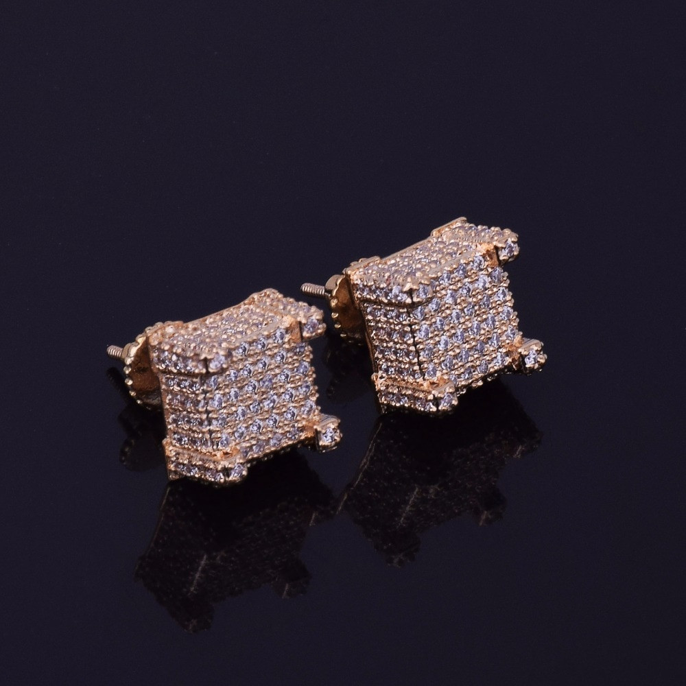 10x10mm Mens Lab Diamond Micro Pave Bling Cube Screw Back Earrings