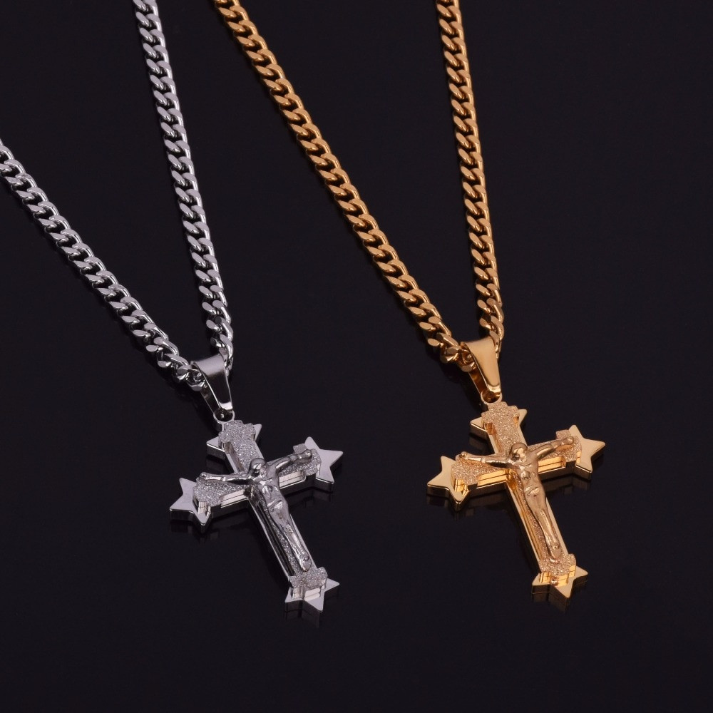 Men's Cross Pendant Jesus Piece Gold Silver 316L Stainless Steel Fashion Jewelry Pendant Chain Necklace