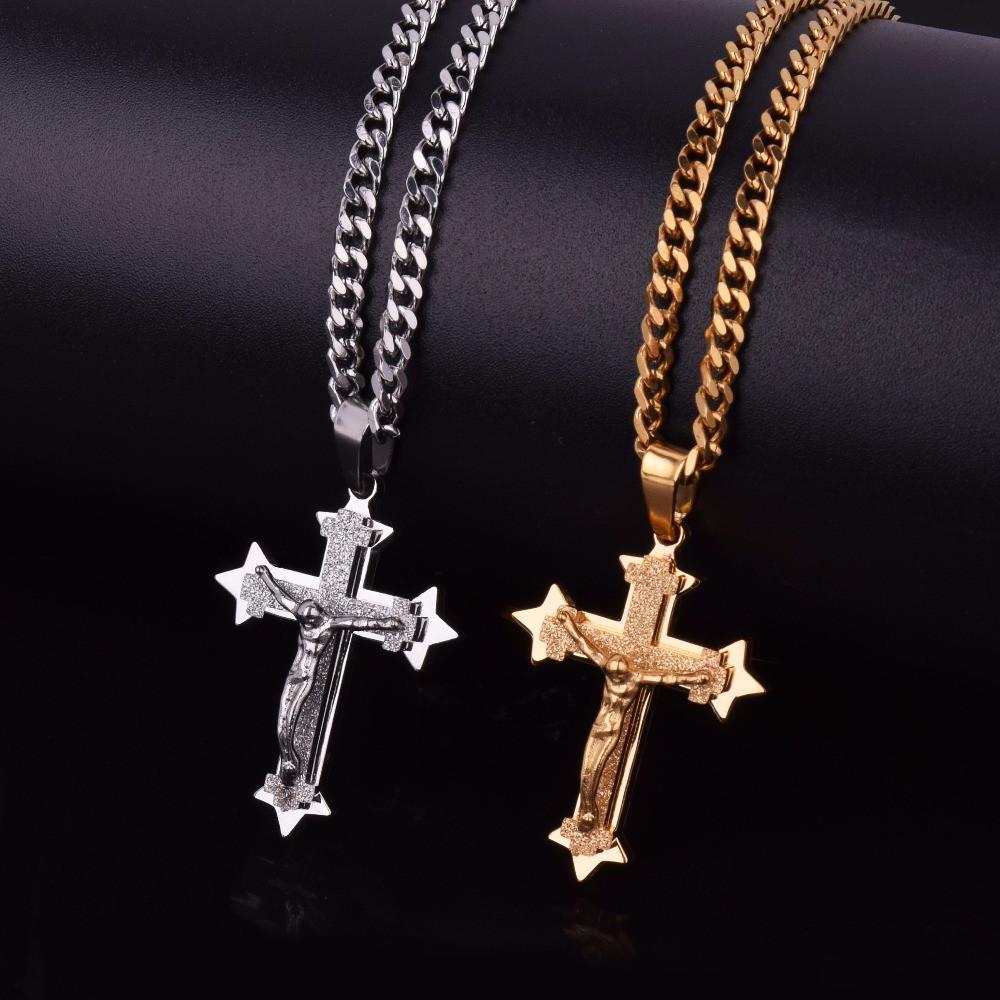 Men's Cross Pendant Jesus Piece Gold Silver