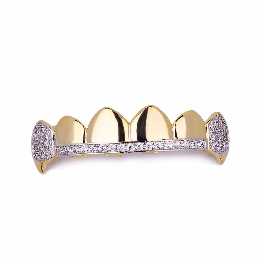 14k Gold Hip Hop Teeth Tooth Iced Out Micro Pave Fang Mouth Grillz Top and Bottom